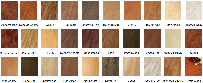 Floor Fitting Colour Chart